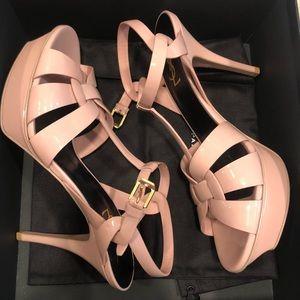 Yves St Laurent Mid-heel Patent Platform Sandal